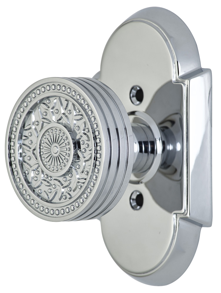 2 1/4 Inch Sunburst Petal Door Knob With Arched Rosette (Polished Chrome Finish)