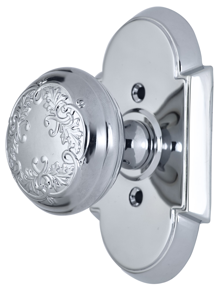 2 Inch Floral Leaf Knob With Arched Rosette (Polished Chrome Finish)