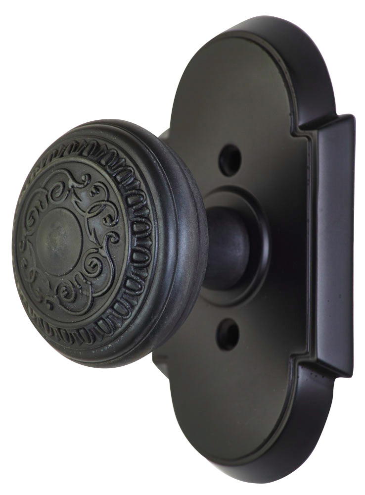 2 Inch Romanesque Door Knob With Arched Rosette (Oil Rubbed Bronze Finish)