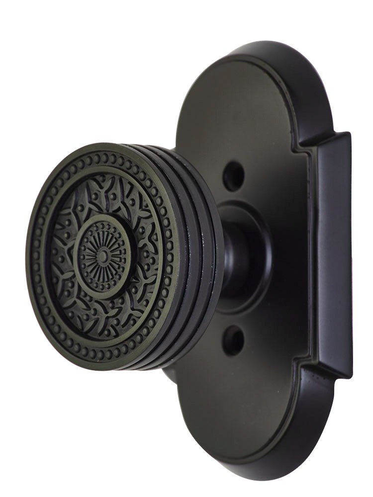2 1/4 Inch Sunburst Petal Door Knob With Arched Rosette (Oil Rubbed Bronze Finish)