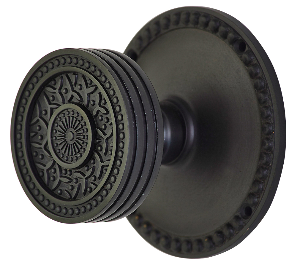 2 1/4 Inch Sunburst Petal Door Knob With Beaded Rosette (Oil Rubbed Bronze Finish)