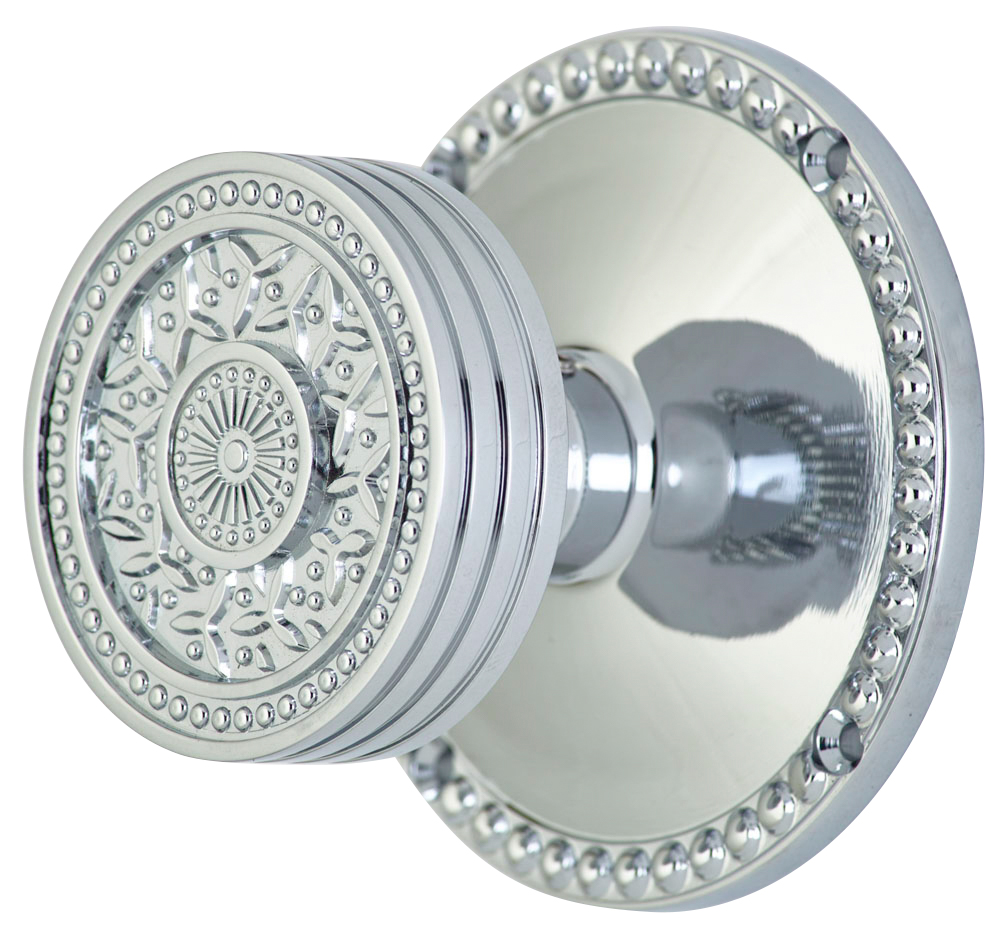 2 1/4 Inch Sunburst Petal Door Knob With Beaded Rosette (Polished Chrome Finish)