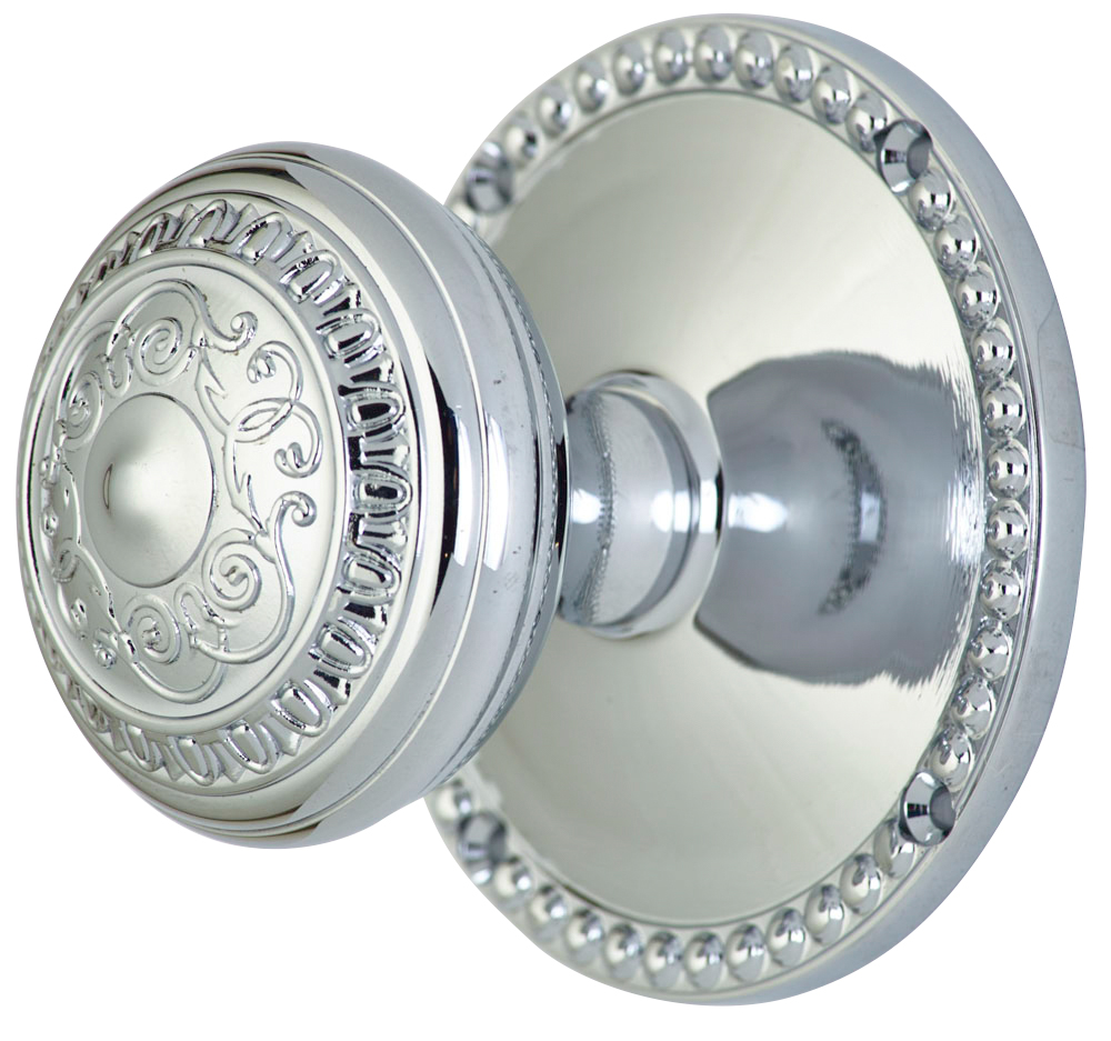 2 Inch Romanesque Door Knob With Beaded Rosette (Polished Chrome Finish)