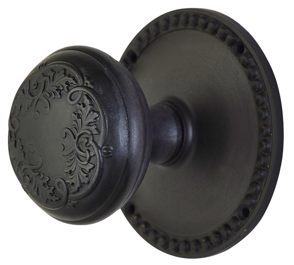 2 Inch Floral Leaf Door Knob With Beaded Rosette (Oil Rubbed Bronze Finish)