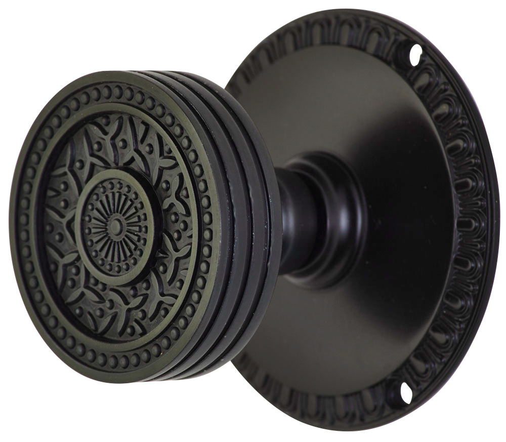 2 1/4 Inch Sunburst Petal Door Knob With Egg & Dart Rosette (Oil Rubbed Bronze Finish)