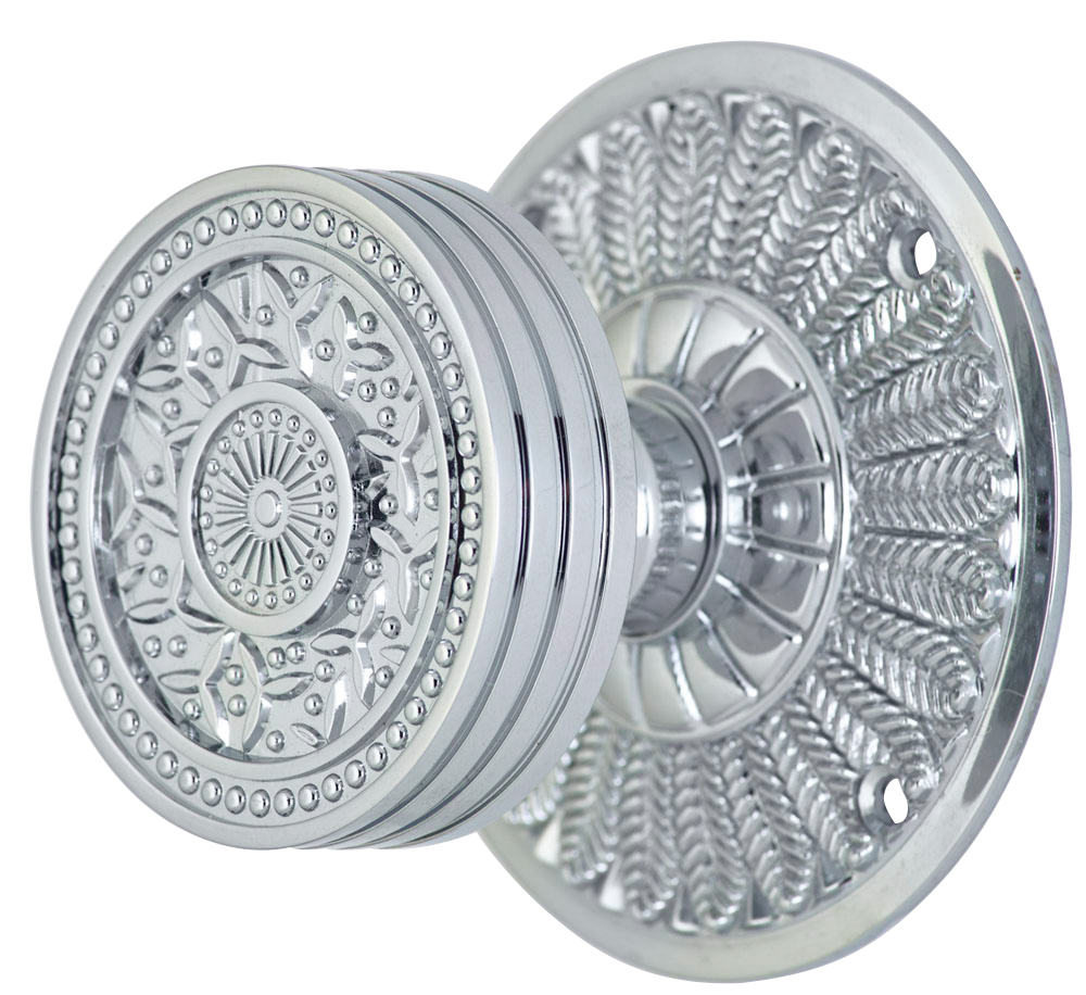 2 1/4 Inch Sunburst Petal Door Knob With Feather Rosette (Polished Chrome Finish)
