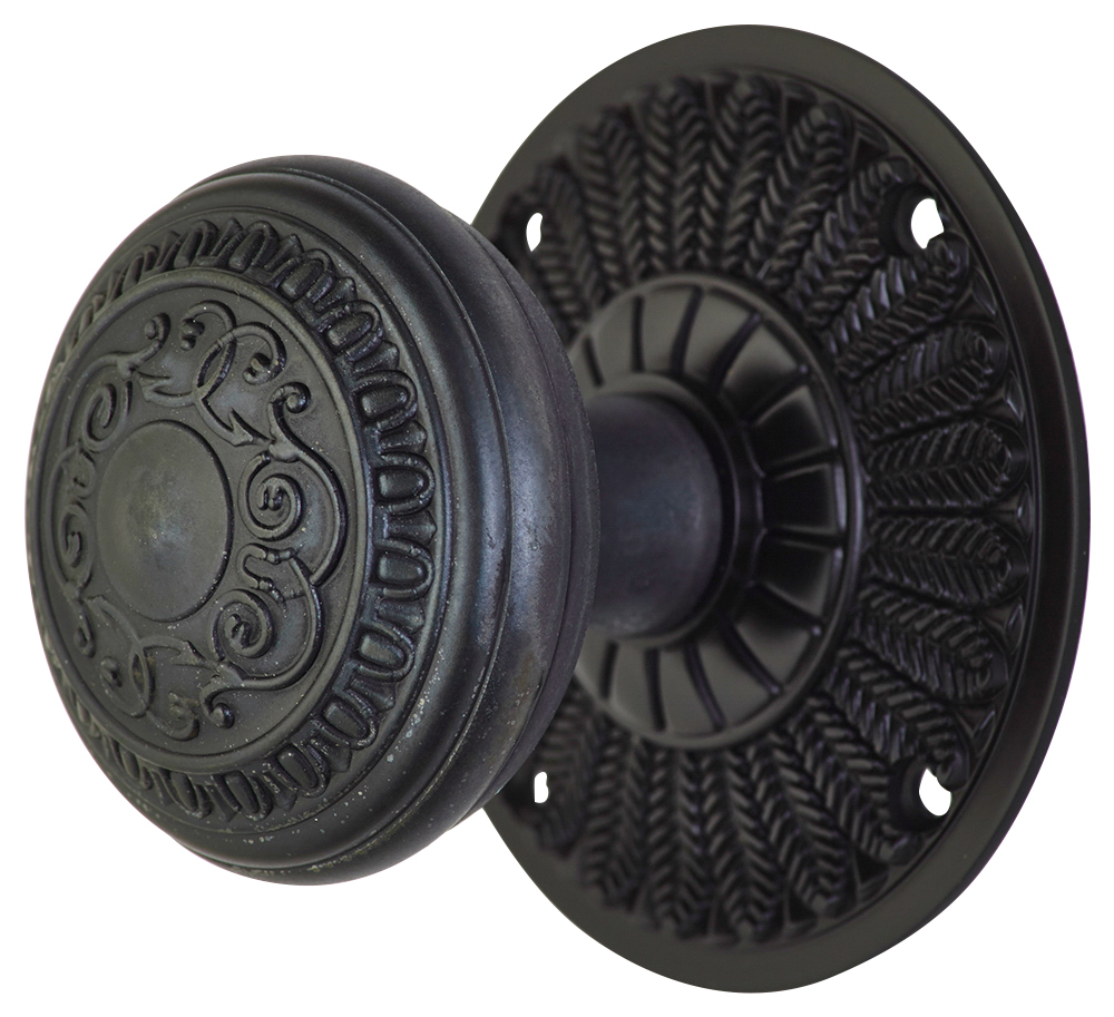 2 Inch Romanesque Door Knob With Feather Rosette (Oil Rubbed Bronze Finish)
