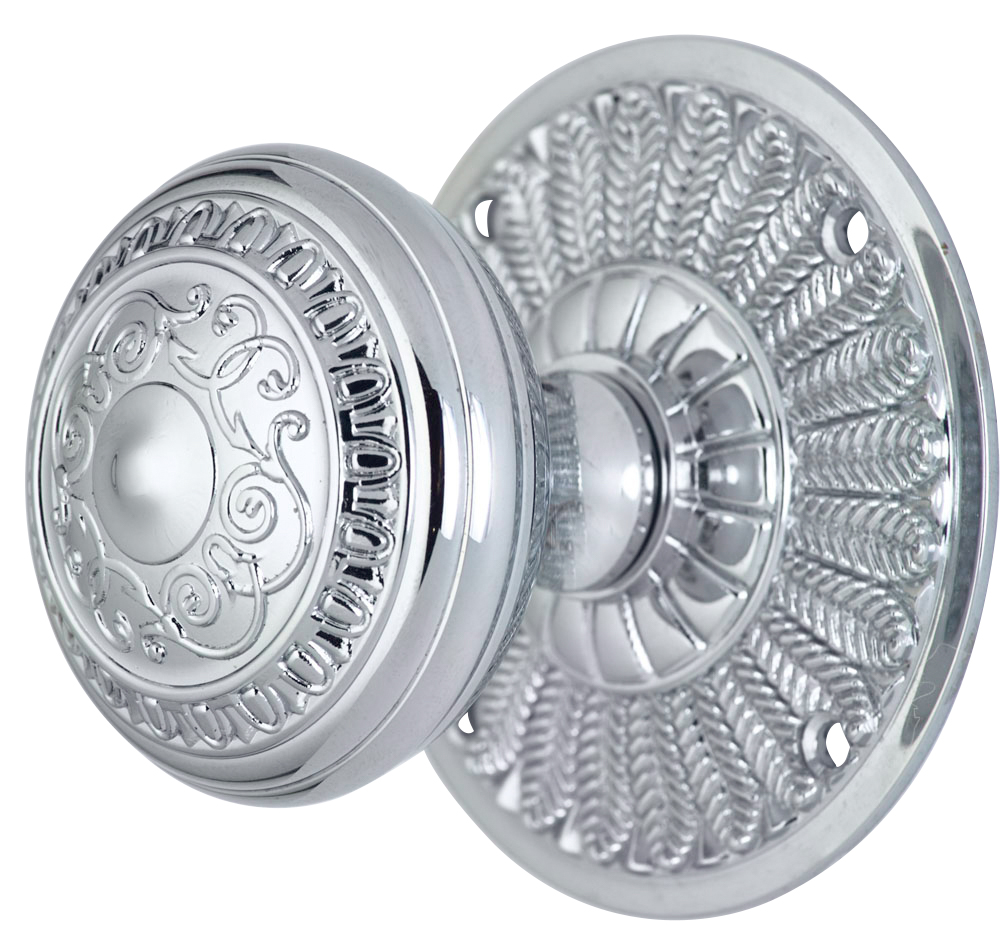 2 Inch Romanesque Door Knob With Feather Rosette (Polished Chrome Finish)