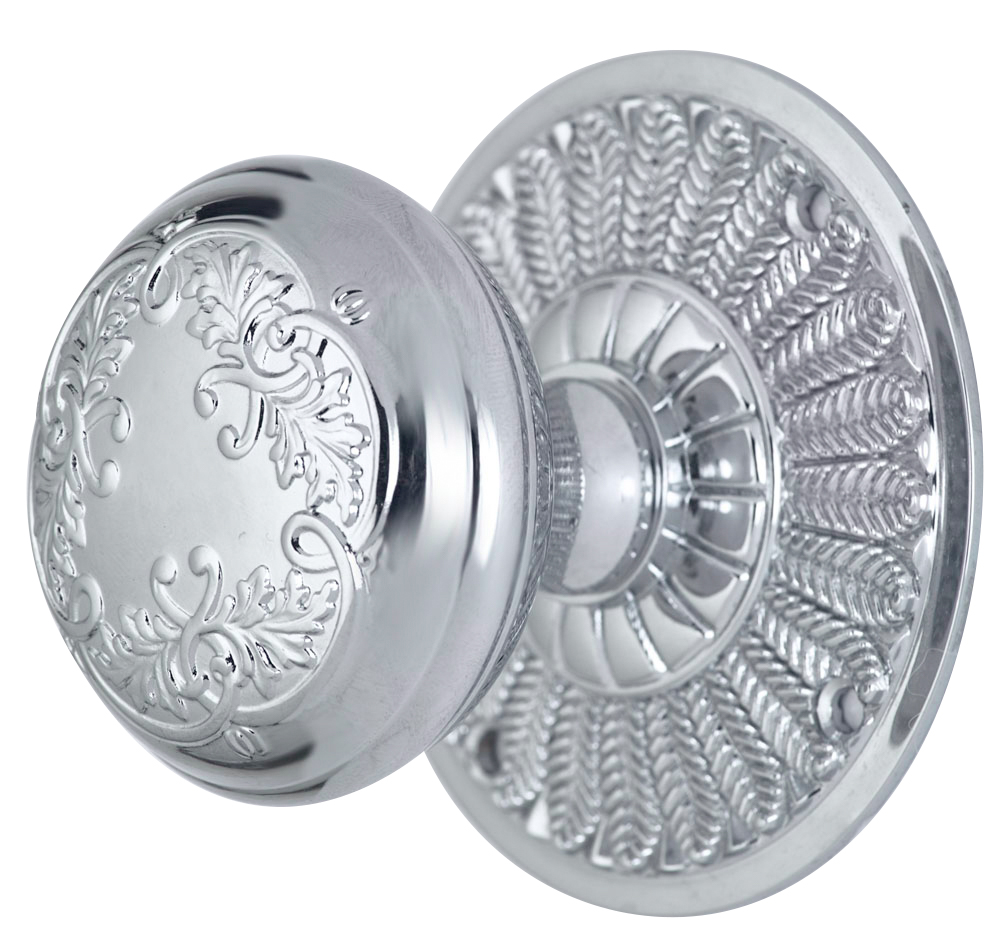 2 Inch Floral Leaf Knob With Feather Rosette (Polished Chrome Finish)