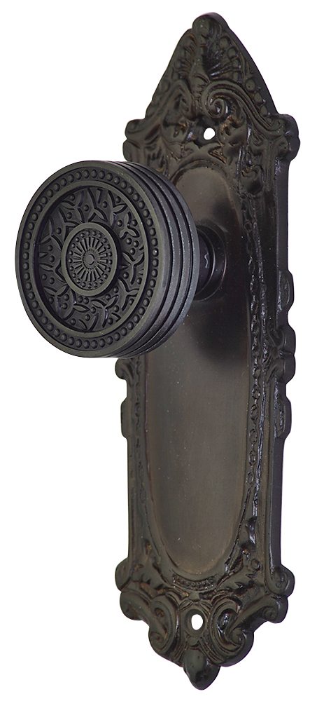 2 1/4 Inch Sunburst Petal Door Knob With Largo Design Rosette (Oil Rubbed Bronze Finish)