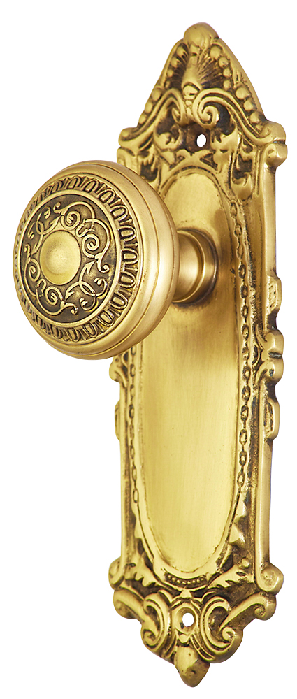 2 Inch Romanesque Door Knob With Largo Design Rosette (Antique Brass Finish)