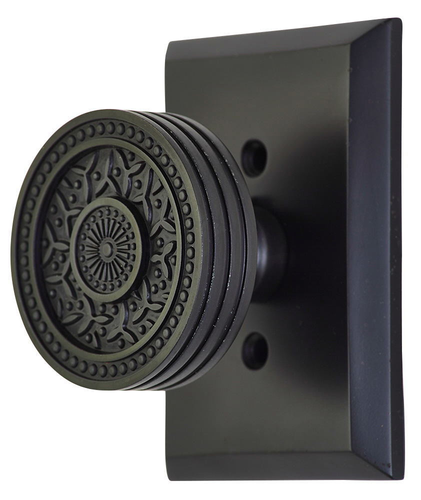 2 1/4 Inch Sunburst Petal Door Knob With Rectangular Rosette (Oil Rubbed Bronze Finish)