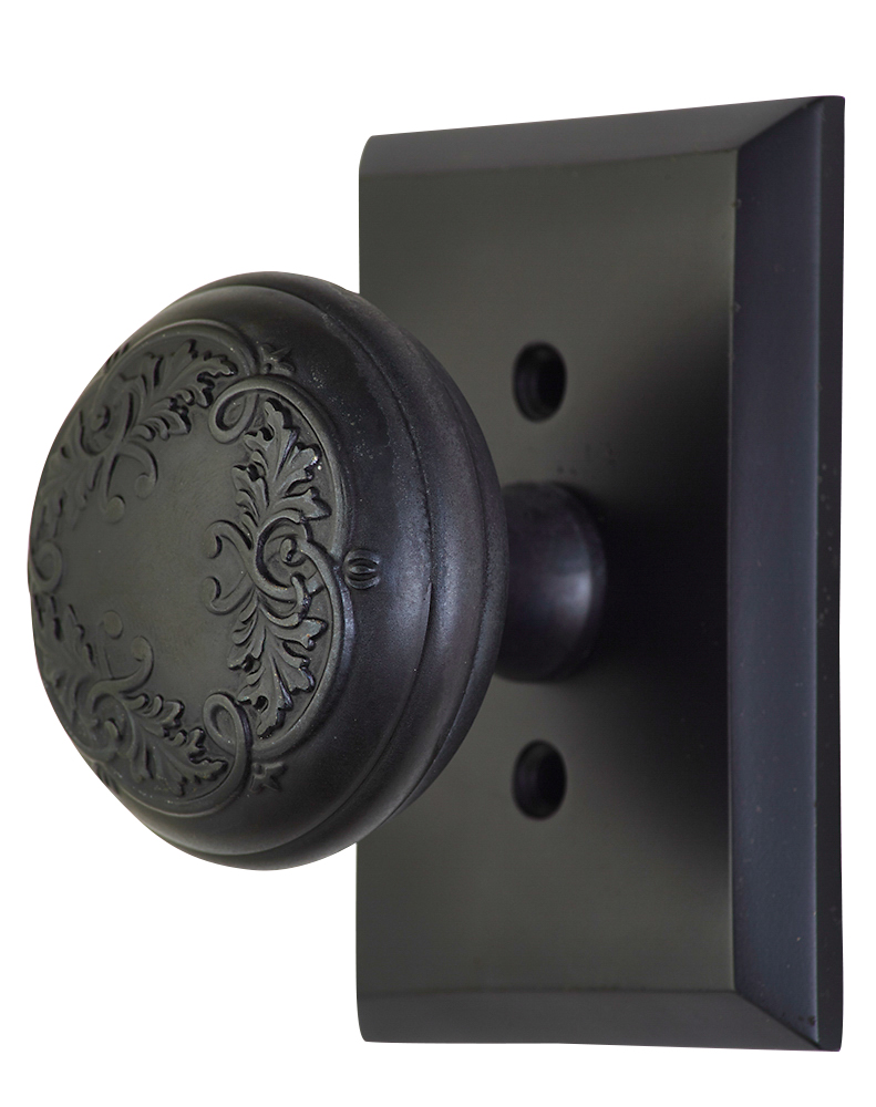 2 Inch Floral Leaf Knob With Rectangular Rosette (Oil Rubbed Bronze Finish)