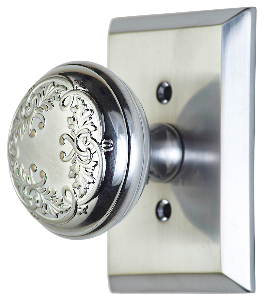 2 Inch Floral Leaf Knob With Rectangular Rosette (Polished Chrome Finish)