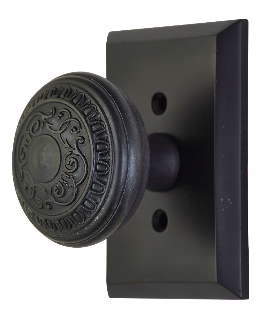 2 Inch Romanesque Door Knob With Rectangular Rosette (Oil Rubbed Bronze Finish)