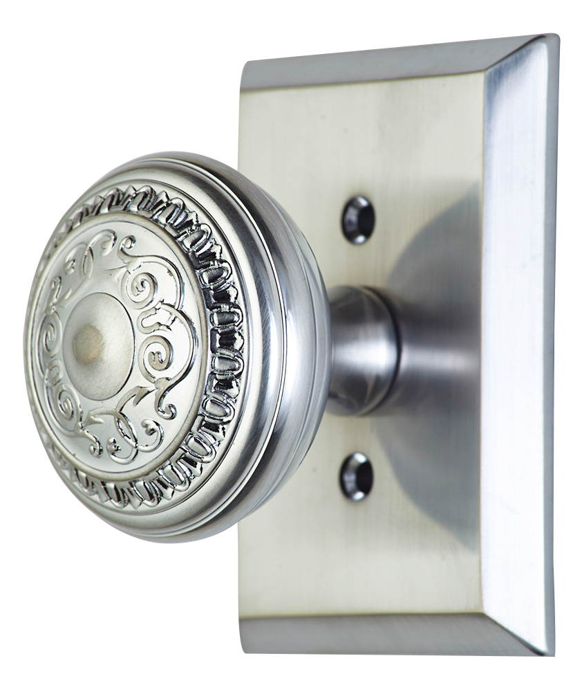 2 Inch Romanesque Door Knob With Rectangular Rosette (Brushed Nickel Finish)