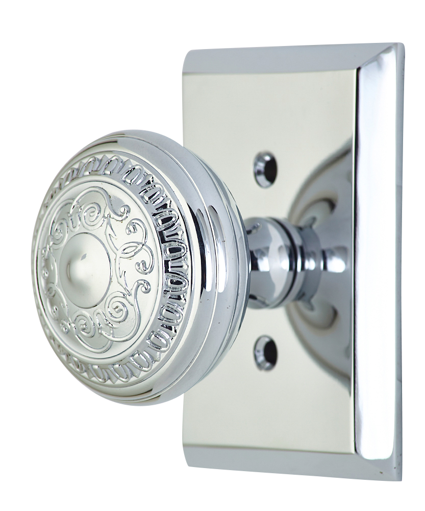 2 Inch Romanesque Door Knob With Rectangular Rosette (Polished Chrome Finish)