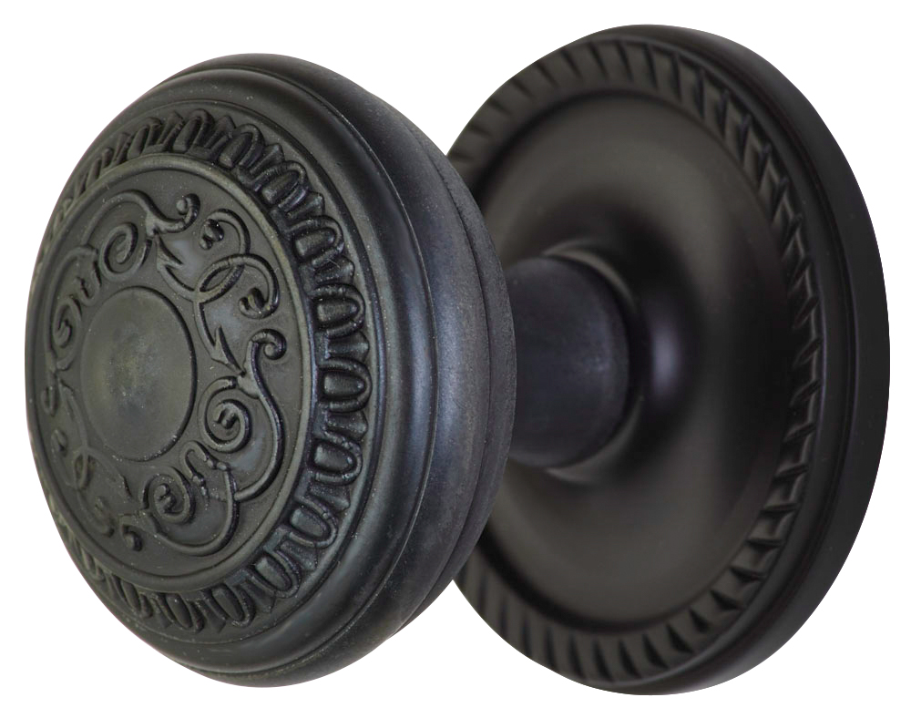 2 Inch Romanesque Door Knob With Rope Rosette (Oil Rubbed Bronze Finish)