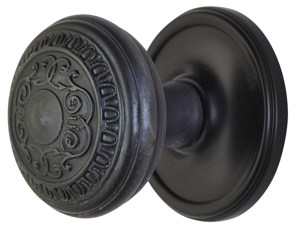 2 Inch Romanesque Door Knob With Victorian Style Rosette (Oil Rubbed Bronze Finish)