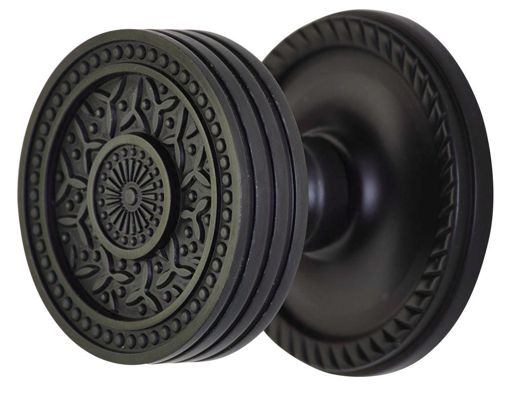 2 1/4 Inch Sunburst Petal Door Knob With Victorian Style Rosette (Oil Rubbed Bronze Finish)