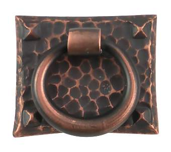 Hammered Arts & Crafts Ring Pull Knob (Oil Rubbed Bronze Finish)