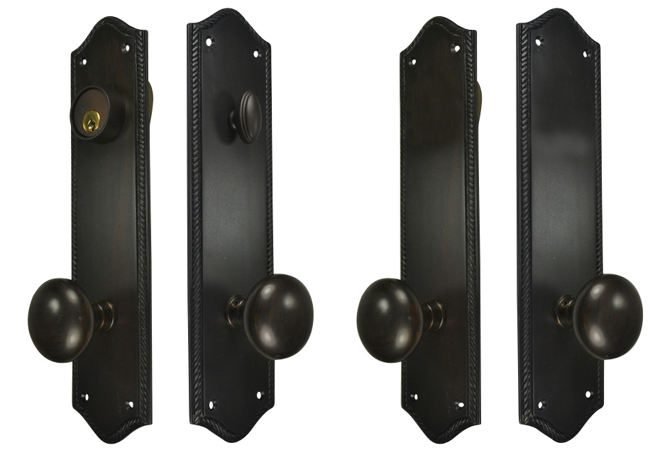 Foyer Door Hardware : Georgian roped oval double door deadbolt entryway set oil