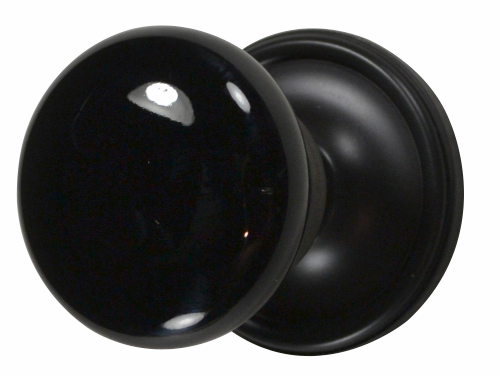 Black Porcelain Door Knob (Oil Rubbed Bronze Victorian Plate)