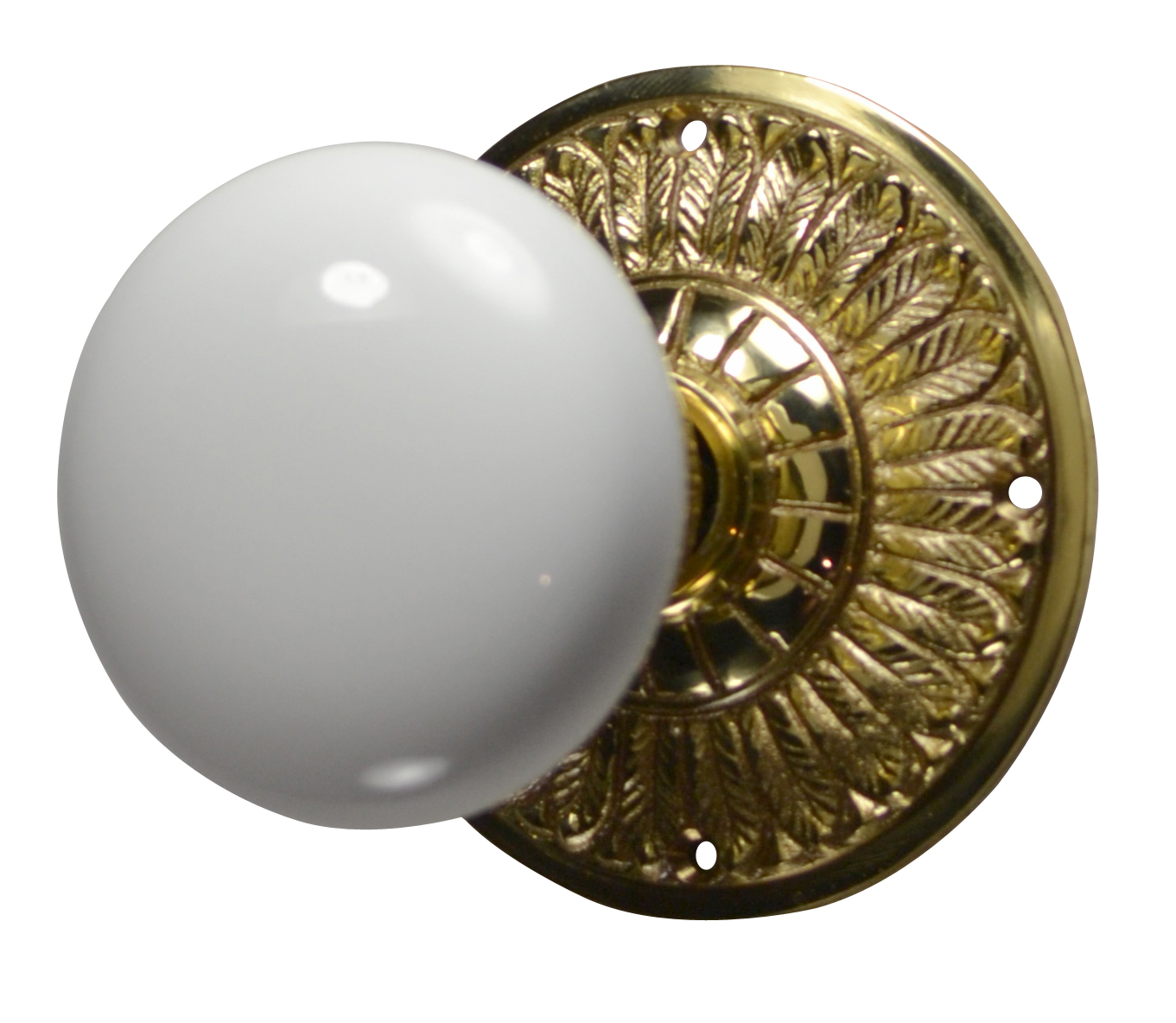 Feathers White Porcelain Door Knob (Polished Brass Finish)