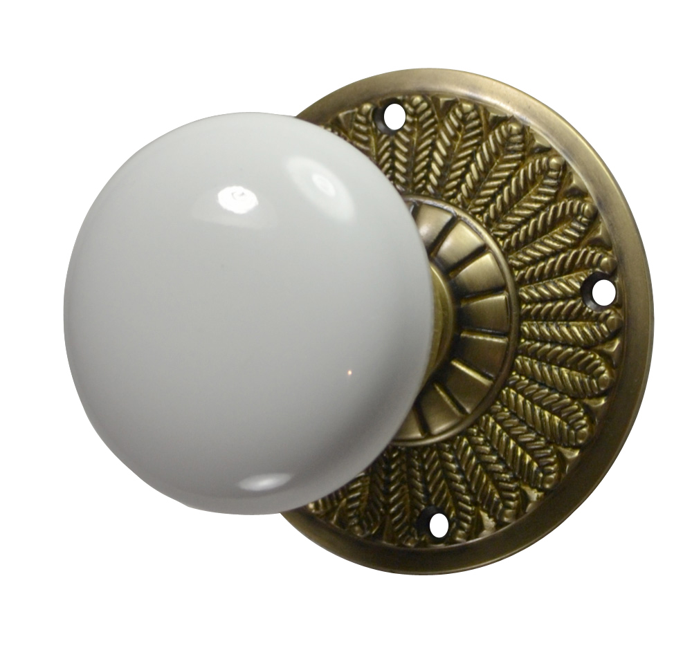 Feathers White Porcelain Door Knob (Antique Brass Finish)