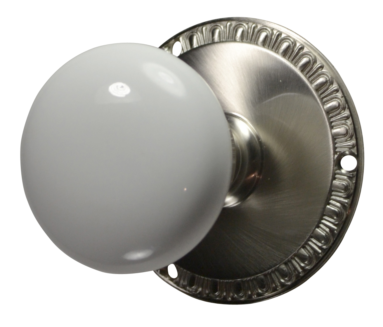 Egg & Dart White Porcelain Door Knob (Brushed Nickel Finish)