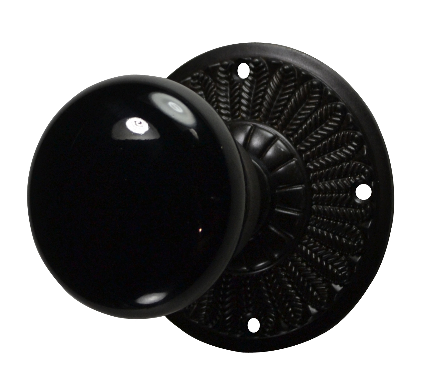 Feathers Black Porcelain Door Knob (Oil Rubbed Bronze Finish)