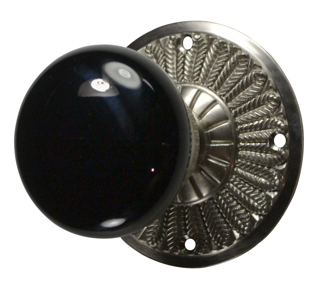 Feathers Black Porcelain Door Knob (Brushed Nickel Finish)