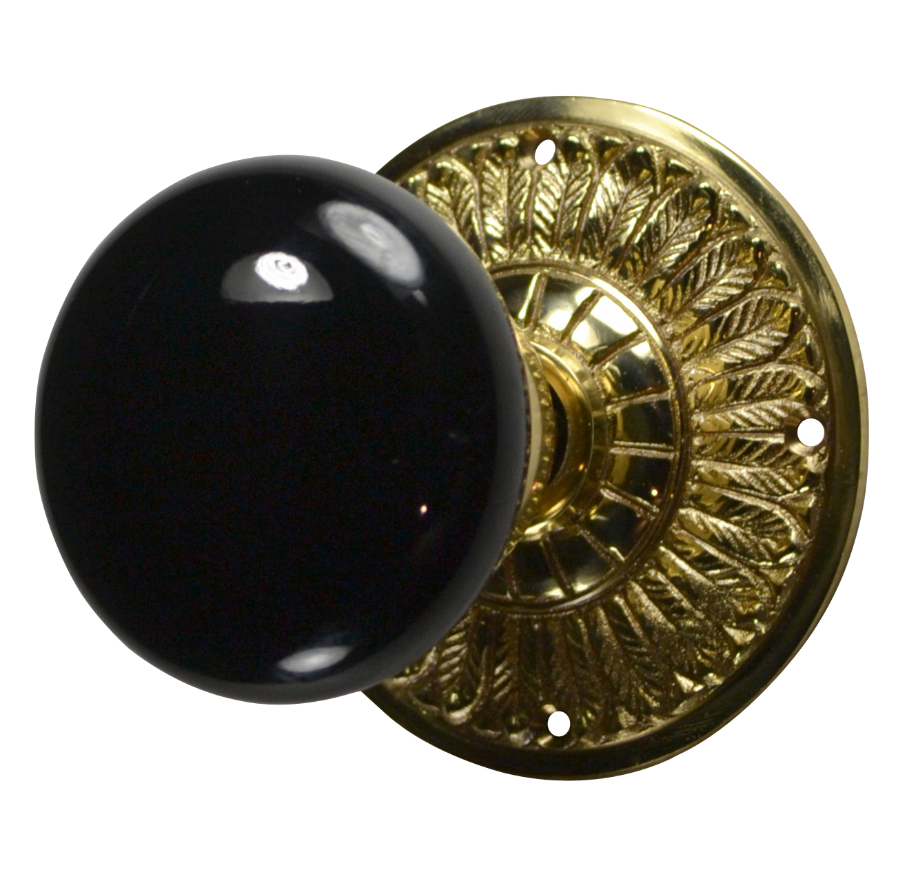 Feathers Black Porcelain Door Knob (Polished Brass Finish)