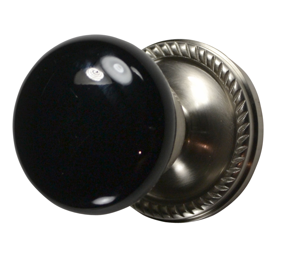 Black Porcelain Door Knob (Brushed Nickel Georgian Roped Plate)