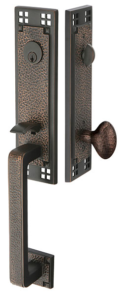 Solid Brass Craftsman Style Mortise Entryway Set (Oil Rubbed Bronze Finish)