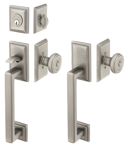 Solid Brass Hamden Style Mortise Double Door Entryway Set (Brushed Nickel Finish)