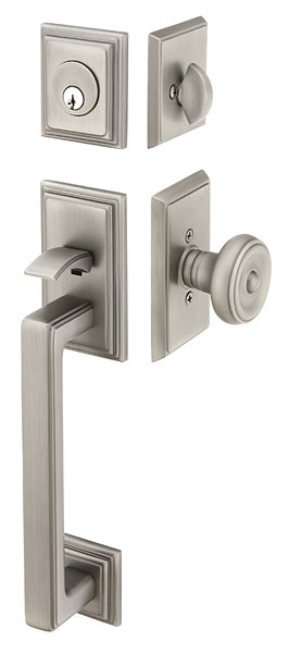 Solid Brass Hamden Style Mortise Entryway Set (Brushed Nickel Finish)