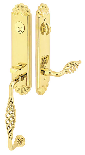 Solid Brass Valley Forge Style Mortise Entryway Set (Polished Brass Finish)