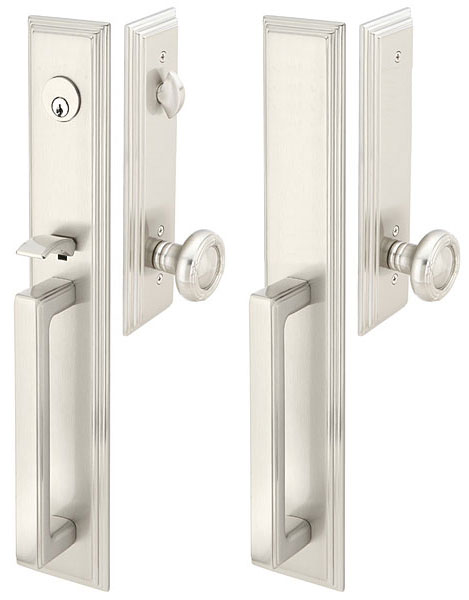 Delicieux Solid Brass Melrose Style Double Door Entryway Set (Brushed Nickel Finish)