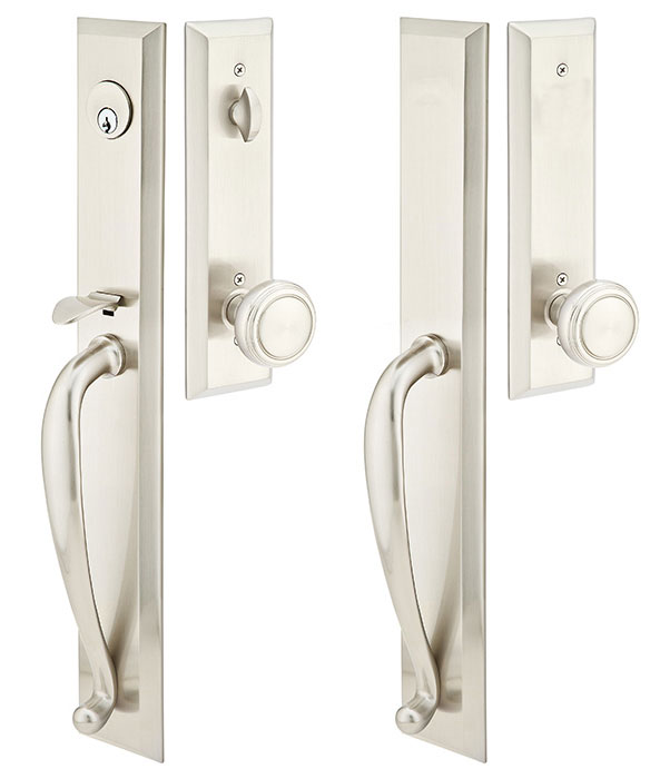 Ordinaire Solid Brass Jefferson Style Double Door Entryway Set (Brushed Nickel Finish)