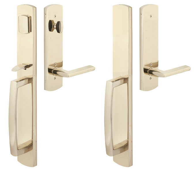 Solid Brass Brighton Style Double Door Entryway Set (Polished Chrome Finish)