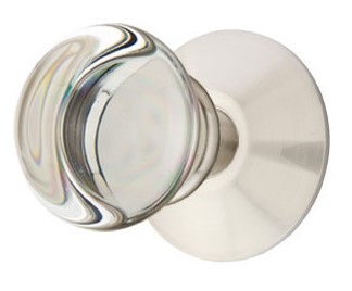Round Crystal Door Knob Set with Round Rosette (Brushed Nickel Finish)