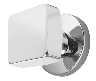 Solid Brass Square Door Knob Set With Round Disc Rosette (Polished Chrome  Finish)
