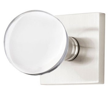 Bristol Crystal Door Knob Set with Square Rosette (Brushed Nickel Finish)