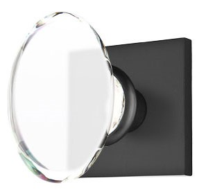 Hampton Crystal Door Knob Set with Square Rosette (Flat Black Finish)