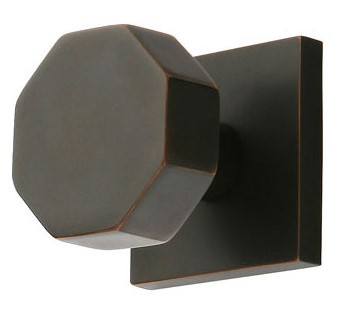 Solid Brass Octagon Door Knob Set with Square Rosette (Oil Rubbed Bronze Finish)