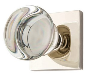 Round Crystal Door Knob Set with Square Rosette (Polished Chrome Finish)