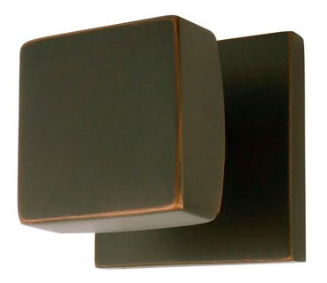 Solid Brass Square Door Knob Set with Square Rosette (Oil Rubbed Bronze Finish)