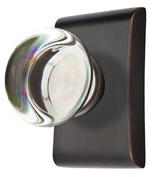 Round Crystal Door Knob Set with Rectangular Rosette (Oil Rubbed Bronze Finish)