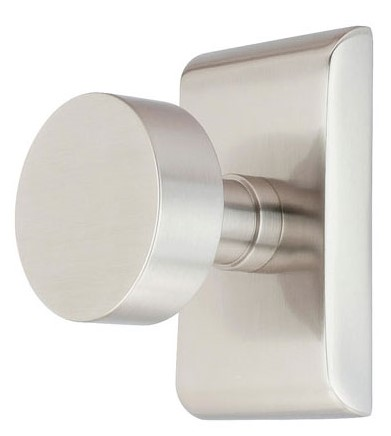 Solid Brass Round Door Knob Set with Rectangular Rosette (Brushed Nickel Finish)